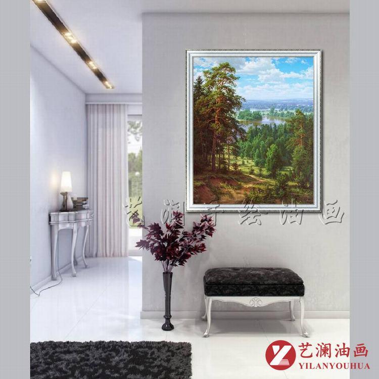 家装软饰 装饰字画 艺澜油画 艺澜高档手绘竖式林木风景画 客厅玄关图片