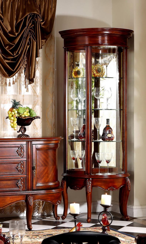 欧梦达别墅家具 美式实木电视柜欧式矮柜组合地柜玻璃
