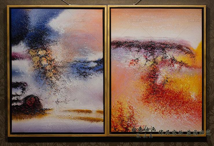 水竞赵无极抽象油画三联画现代简约欧式油画手绘客厅沙发背景墙装饰画图片