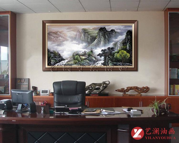 艺澜中式风格大型壁画横式构图 办公室书房客厅家居装饰挂画sh112 纯图片