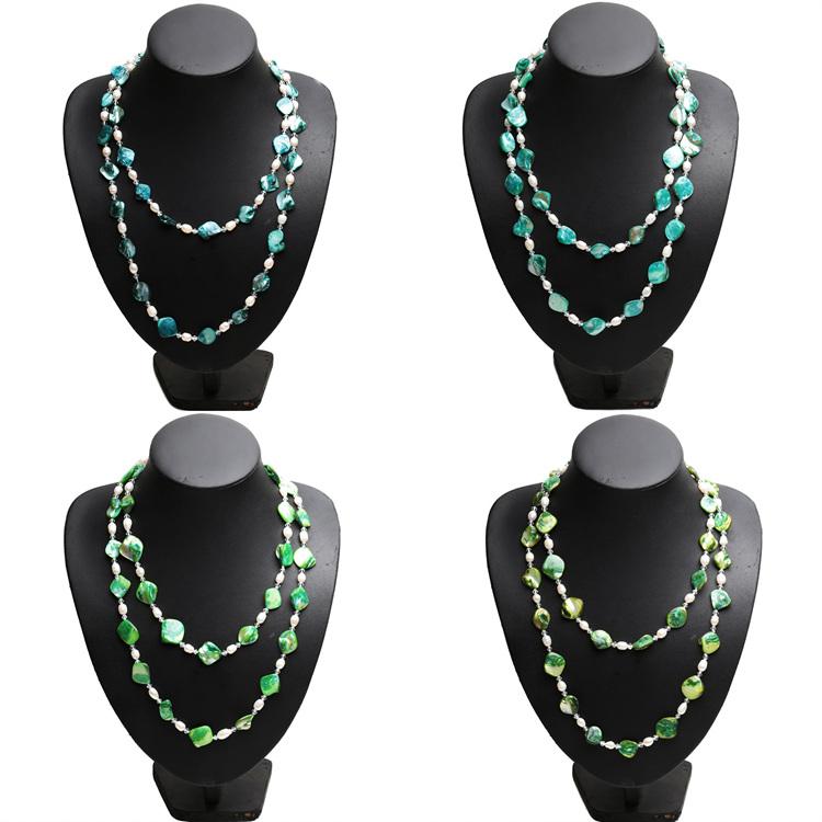 淡水珍珠彩色贝壳项链