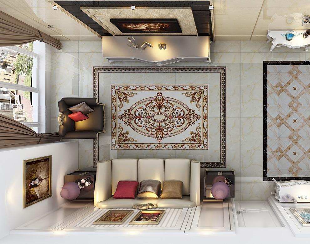 客厅走廊地砖造型欧式客厅地砖造型图片6