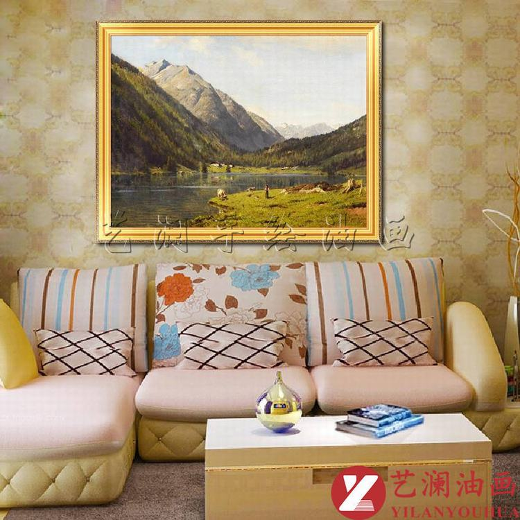 藝瀾純手繪自然風景油畫 古典景色 客廳沙發墻掛畫家居裝飾藝術品fj45