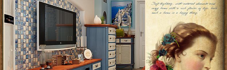 优尚美家 蓝色手绘地中海家具电视柜实木家具矮柜地柜