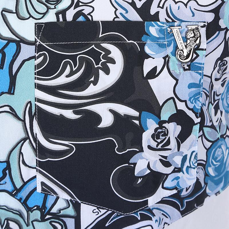 versace范思哲男装奢侈品短袖衬衫时尚花纹翻领上衣 b1gna612
