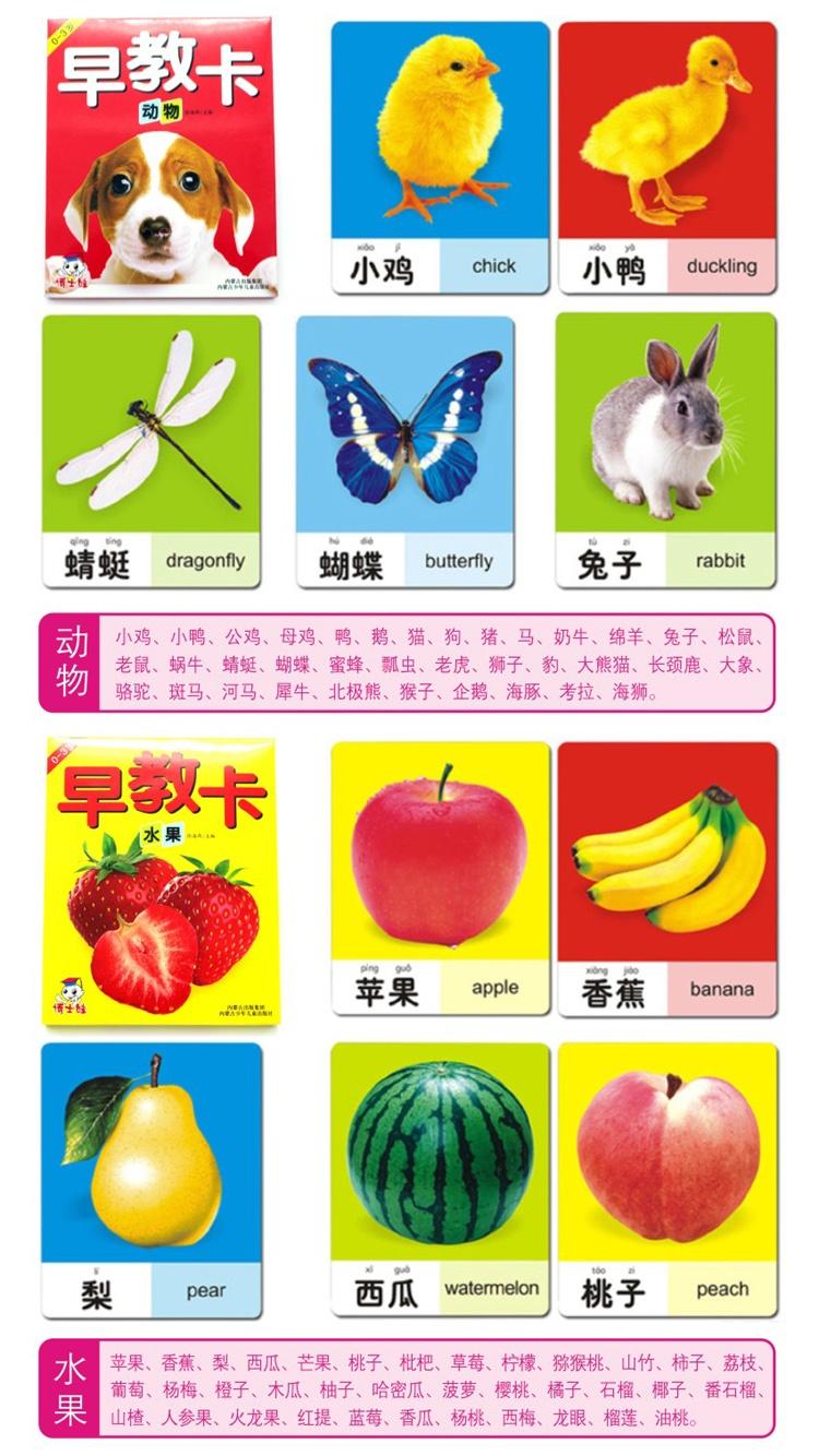 宝宝数字卡片1-100彩色全套4盒 认字识图识物动物卡片早教认知婴幼