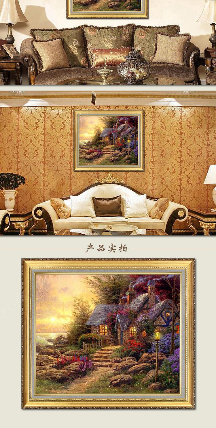 美式乡村有框画 欧式纯手绘风景油画 石头房子 120*220cm走物流