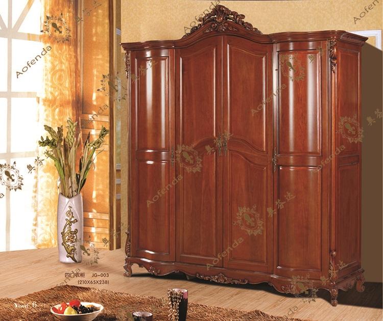 奥芬达家具 法式衣柜 美式衣柜 法式美式实木衣柜 法式美式4门衣柜