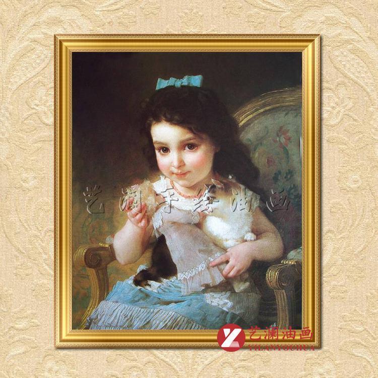 艺澜小淘气洋娃娃可爱小女孩和猫 穆尼尔画 女儿房壁挂装饰品油画gr29
