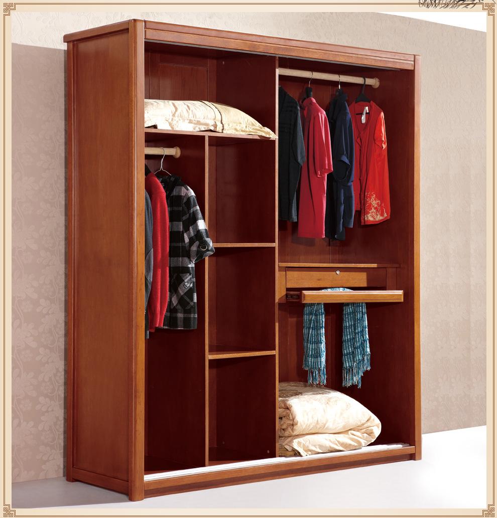 居延海 实木趟门衣柜 中式双门衣柜家具实木衣柜 实木