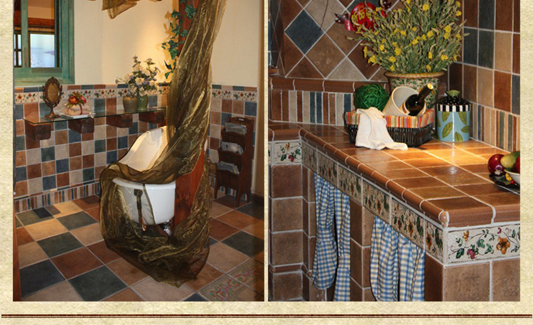 骆兰仿古砖 欧式美式乡村地中海 厨房卫生间腰线压条图片