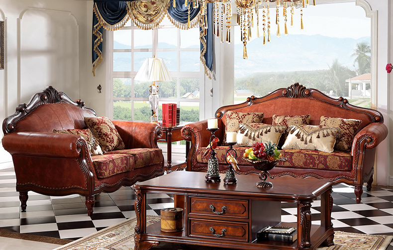 欧梦达家具 美式真皮布艺沙发图片