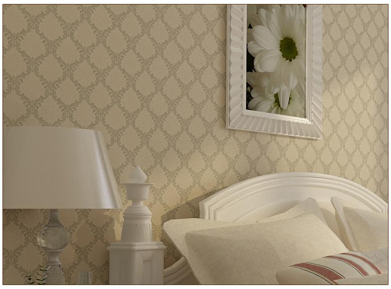 九龙墙纸菱形墙纸卧室温馨欧式壁纸高端无纺布客厅电视背景 卧室满贴图片