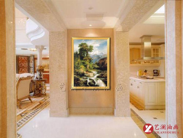 艺澜现代家居装饰画 林中小溪高档客厅玄关壁挂画纯手绘油画定制fj134