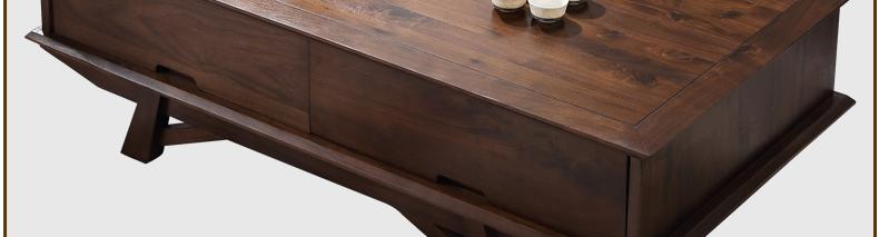 依罗斯丹 进口北美黑胡桃木纯实木茶几 北欧极简主义客厅家具
