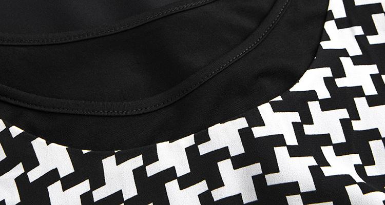 拉夏贝尔 黑白印花两件套连衣裙 印花混色 l码-修身版