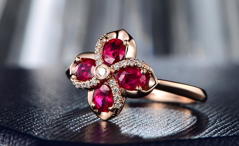 2克拉缅甸天然红宝石戒指 18k金0.