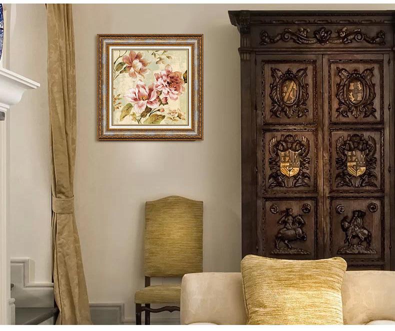 简一画廊 美式装饰画 客厅沙发背景墙壁画 欧式两联带图片