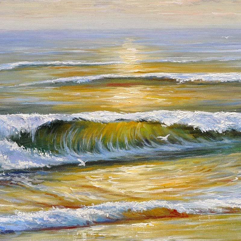 纯手绘大海风景海景沙滩油画客厅玄关卧室床头挂画画