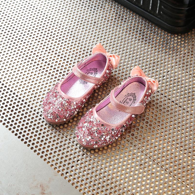 哥姿秀女童公主鞋闪亮水钻小皮鞋韩版时尚表演儿童演出鞋2017春季款