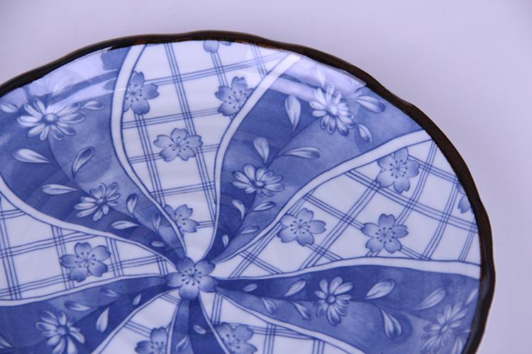 日本进口陶瓷有古窑樱花手绘盘平盘寿司盘大圆盘骨碟日式陶瓷盘子