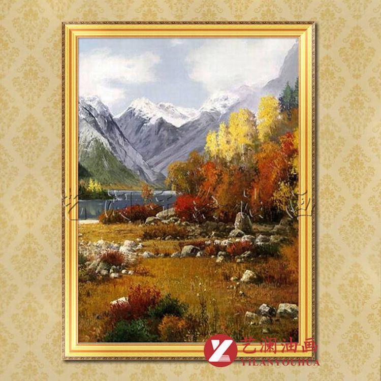 艺澜专业定制高档纯手绘油画 香格里拉风景客厅玄关装饰挂画fj132 纯