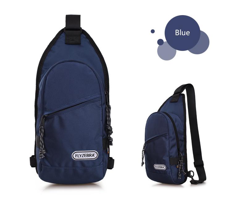 飞斑马男士胸包女式休闲单肩斜背包小包帆布包 韩版fbk3002 宝蓝色图片