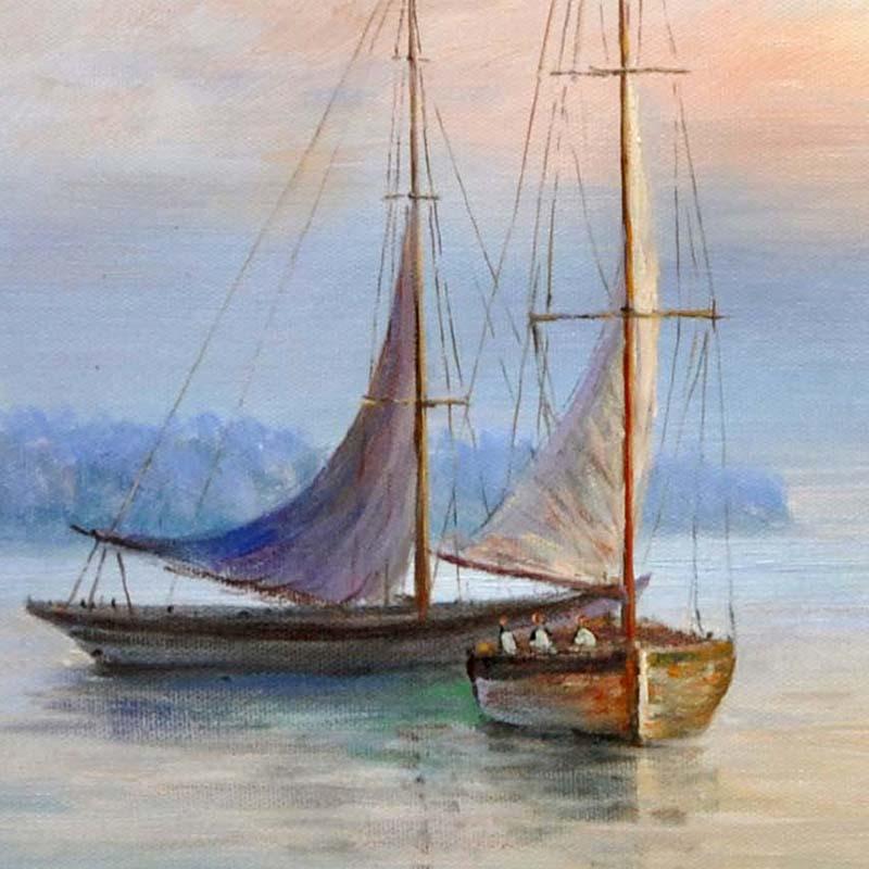 现代地中海风格欧美式装饰画手绘油画家居玄关海景墙