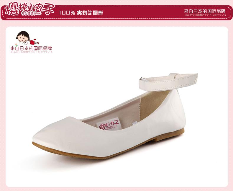 樱桃小丸子 春秋款 儿童小皮鞋 亲子公主鞋 可爱平底鞋 14162 黑色 32