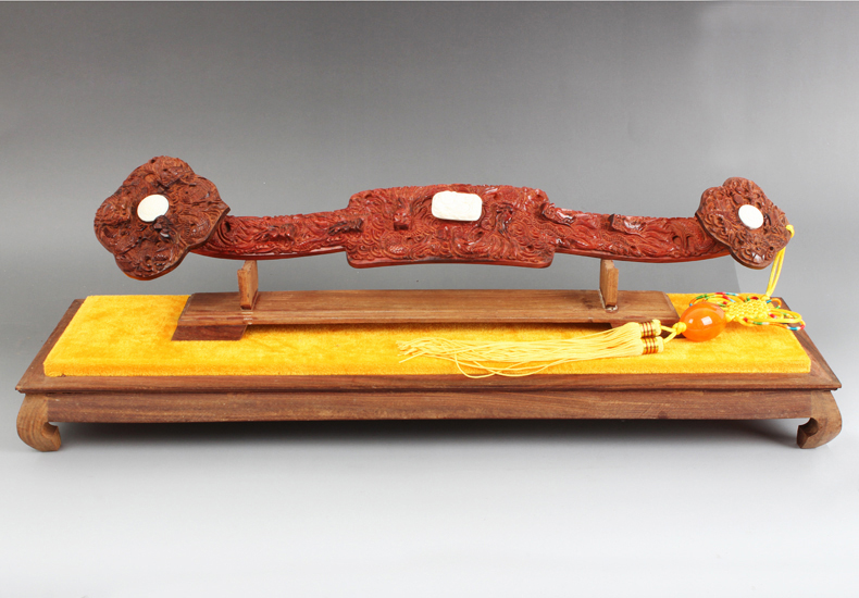 温龙 红酸枝木雕如意摆件 红木工艺品手工雕刻如意礼品家居饰品 长约