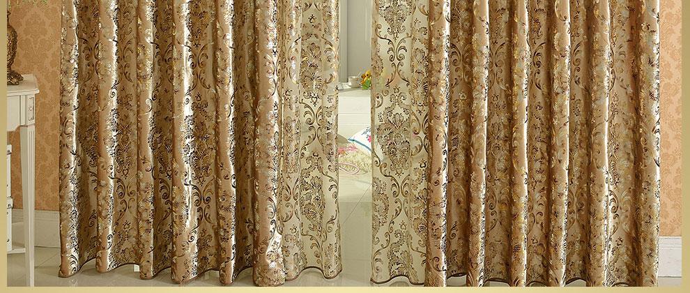 欧式奢华版加厚金丝绒烫金卧室客厅全遮光