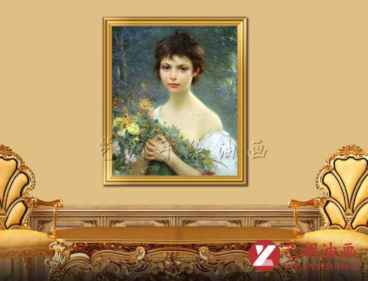 手绘古典小女孩人物油画定制成品带框欧式装饰品壁挂