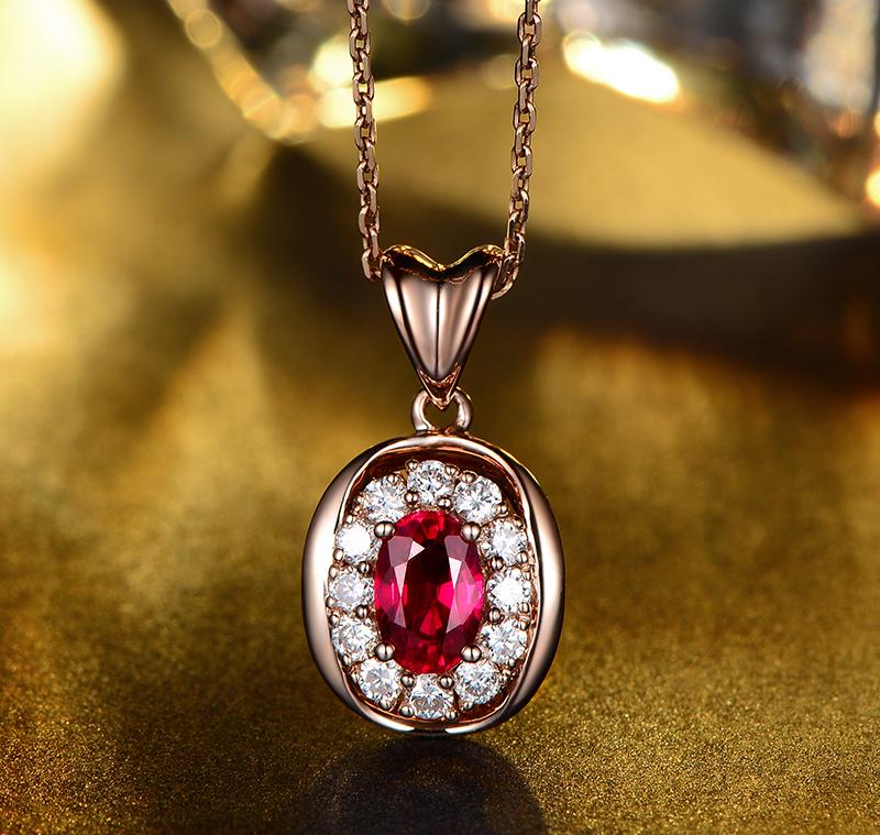 85克拉红宝石吊坠 18k金0.35克拉钻石镶嵌