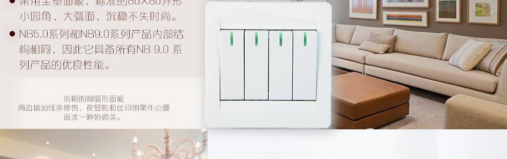 朗能开关插座面板四开单控四联开关nb5.0 4q/1
