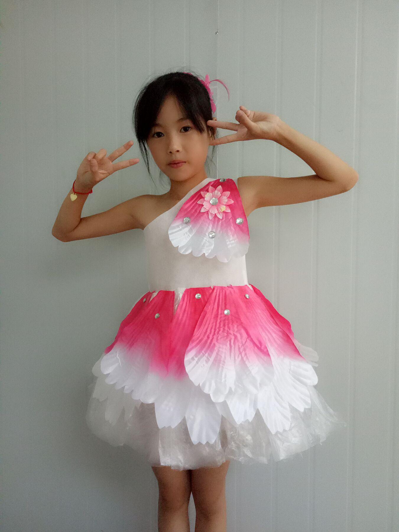 环保衣服装儿童时装秀演出服儿童幼儿园服装女公主裙子装走秀裙tt 玫