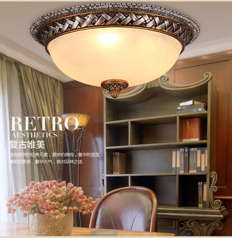 欧式吸顶灯美式复古卧室灯简欧客厅灯树脂时尚阳台灯图片
