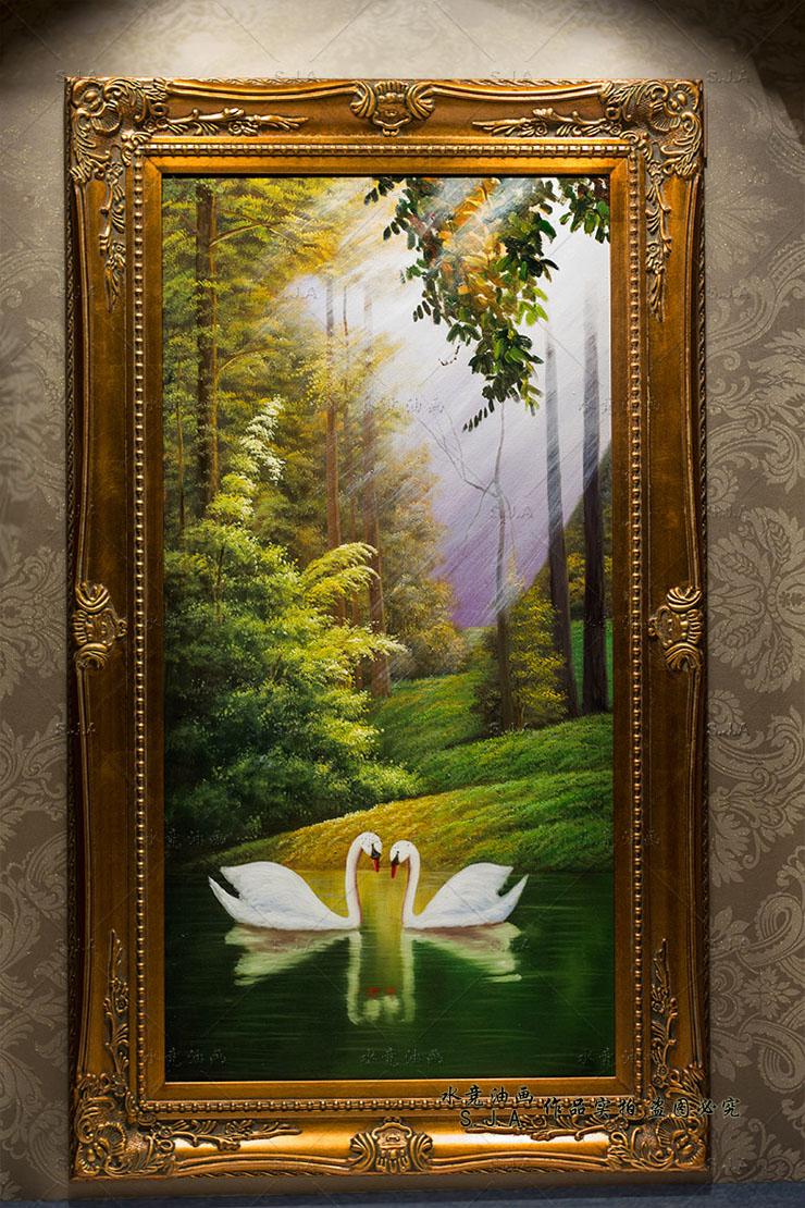 水竞油画手绘山水风景装饰画客厅竖版家居玄关走廊有