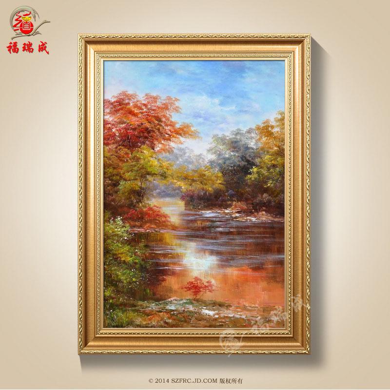 油画手绘油画装饰画水风景油画家居客厅卧室玄关走廊