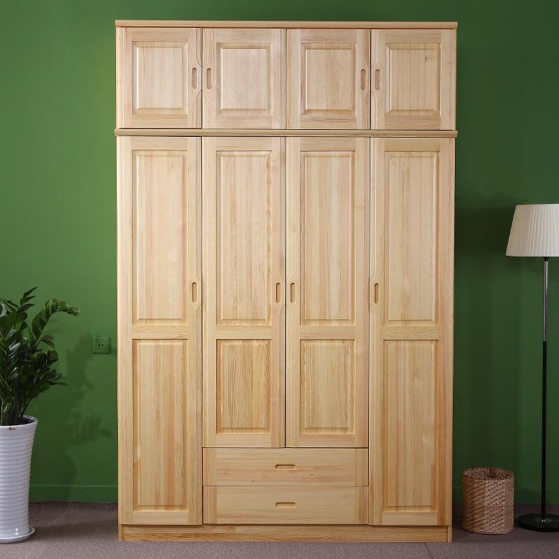 温馨伊嘉 实木衣柜原木顶柜 松木衣柜顶柜两门 三门 四门衣柜顶箱收纳
