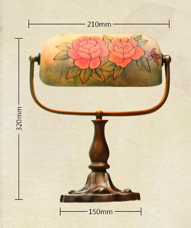 子兰灯饰欧式复古银行台灯美式手绘书房民国老上海玻璃油画台灯客厅