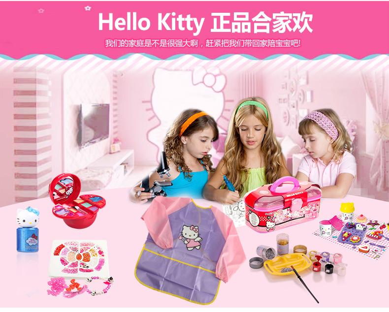 kitty凯蒂猫儿童画画衣罩衣小孩子绘画围裙