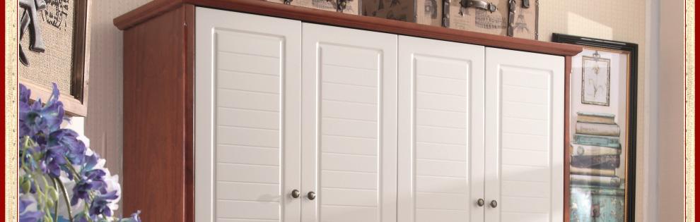 歌庭家具 英伦乡村风格衣柜 实木衣橱白色 美式地中海衣柜四门 xc1