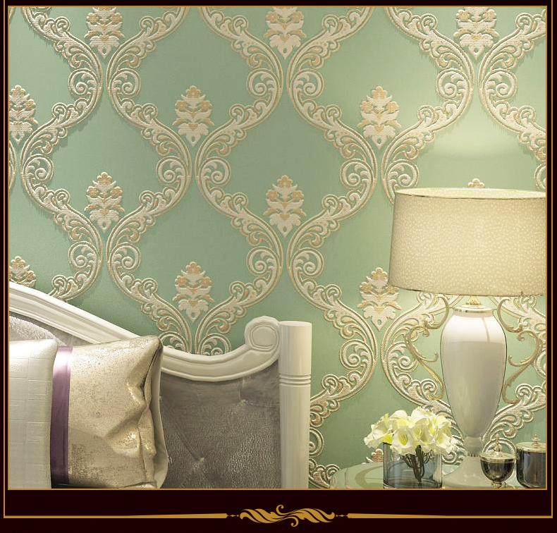 3d立体浮雕简欧式蚕丝墙纸无纺布壁纸客厅卧室沙发电视背景墙壁纸 米