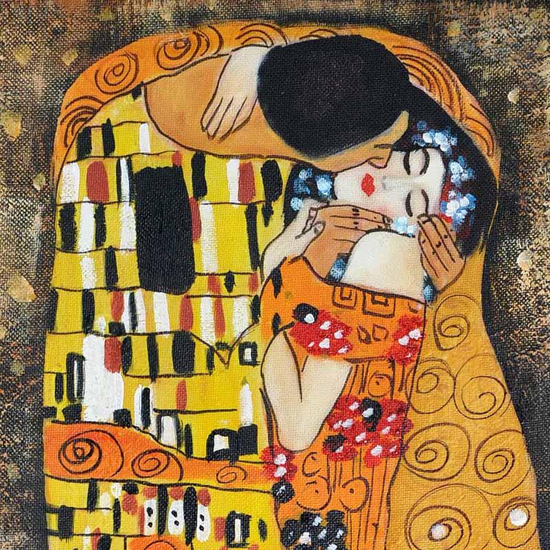 特利娜人物油画手绘有框画客厅欧式油画装饰画 克林姆特拥抱酒店宾馆