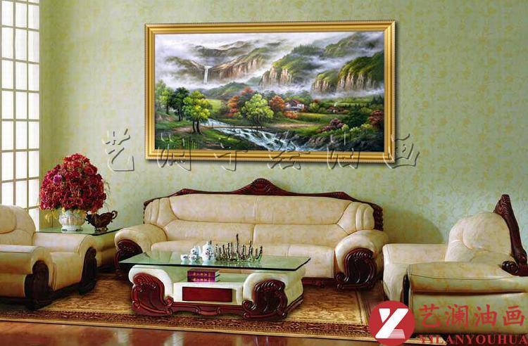 艺澜精品纯手绘山水风景油画 客厅沙发墙壁挂画装饰有图片