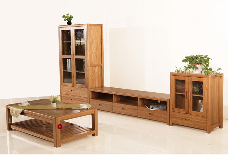 蜀能红榆木电视柜 实木电视柜组合 现代简约进口实木电视机柜组合 高