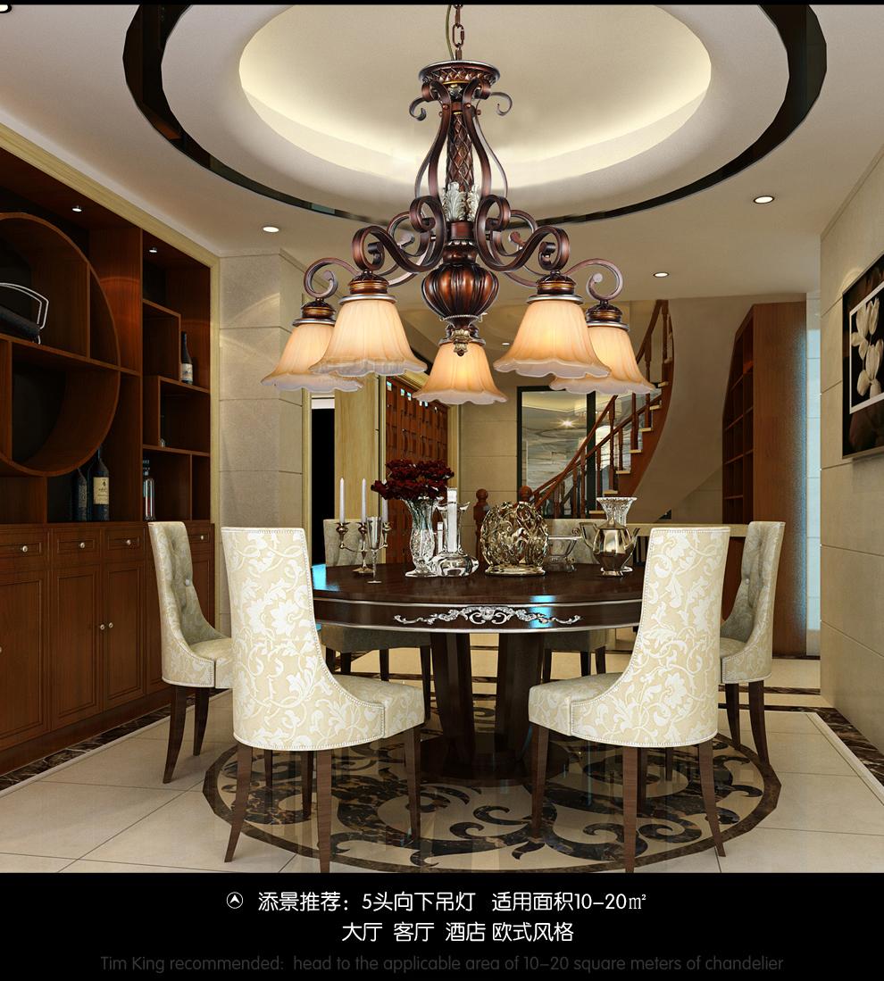 欧式吊灯美式客厅环保天然树脂复古创意铁艺餐厅led艺术卧室灯饰 配套图片