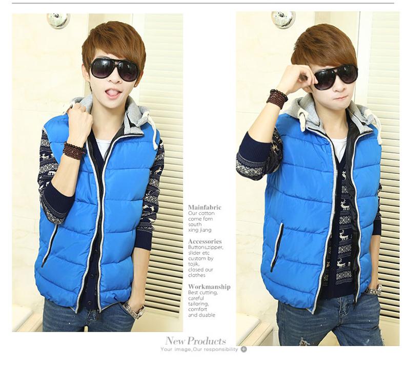 青少年棉马甲男韩版时尚 中学生棉衣冬季外套 保暖修身背心男生潮图片