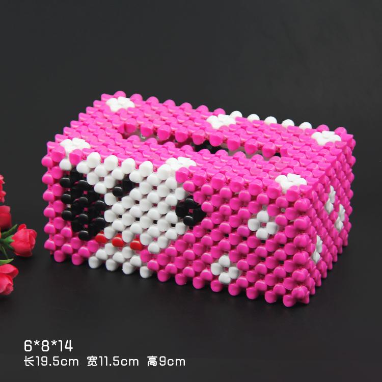 串珠纸巾盒抽纸盒材料包diy手工串珠工艺品葡萄kt猫小熊家居摆件 红色