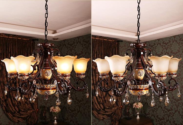 欧式创意卧室灯餐桌灯新古典吊灯咖啡厅吊灯客厅吊顶灯饰 奢华复古6头图片